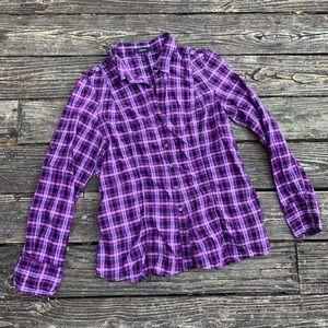 Express   Purple & black plaid metallic blouse L